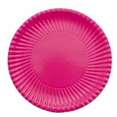 Fuchsia roze wegwerp bordjes 23 cm