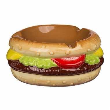 Fun asbak in de vorm van een hamburger 11 cm