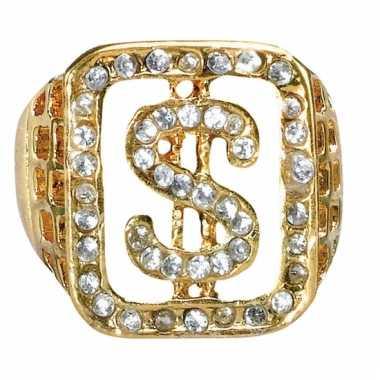 Gangster gouden ring met diamanten