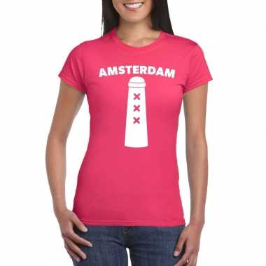 Gay pride amsterdam shirt roze met amsterdammertje dames