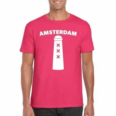 Gay pride amsterdam shirt roze met amsterdammertje heren