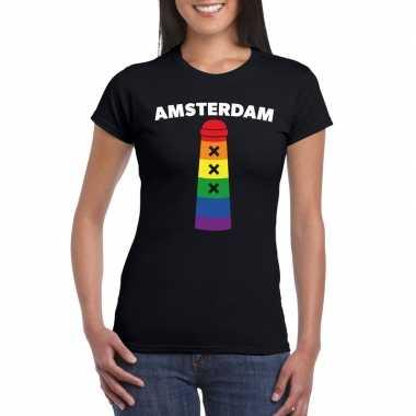 Gay pride amsterdam shirt zwart met regenboog amsterdammertje dames