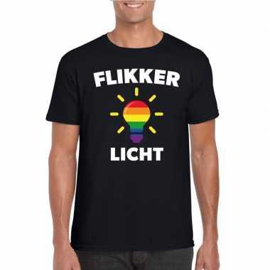 Gay pride flikker licht shirt zwart heren