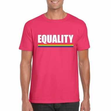 Gay pride homo shirt roze equality heren
