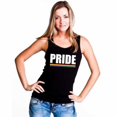 Gay pride lesbo tanktop shirt zwart pride dames