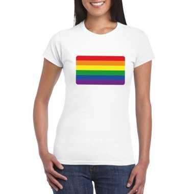 Gay pride/ lgbt shirt regenboog vlag wit dames