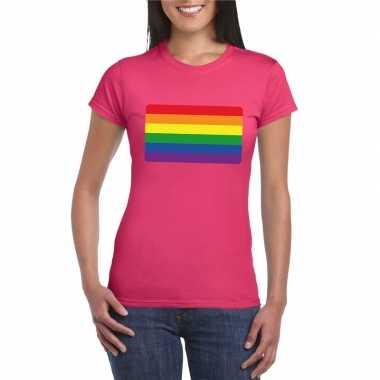 Gay pride/ lgbtshirt regenboog vlag roze dames