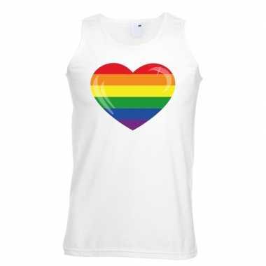 Gay pride mouwloos shirt regenboog vlag in hart wit heren