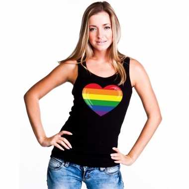 Gay pride mouwloos shirt regenboog vlag in hart zwart dames