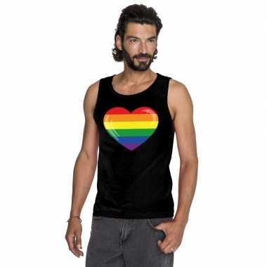 Gay pride mouwloos shirt regenboog vlag in hart zwart heren