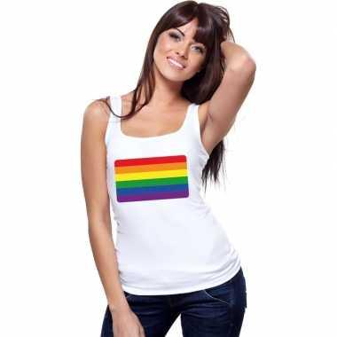 Gay pride mouwloos shirt regenboog vlag wit dames