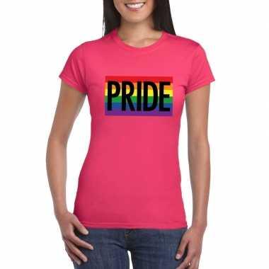 Gay pride regenboog shirt pride roze dames