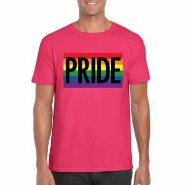 Gay pride regenboog shirt pride roze heren