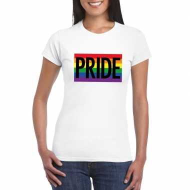 Gay pride regenboog shirt pride wit dames
