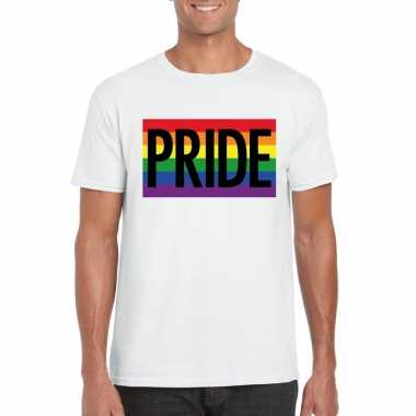 Gay pride regenboog shirt pride wit heren