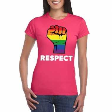 Gay pride respect lgbt shirt roze dames
