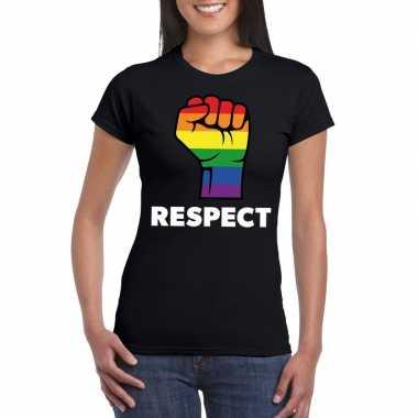 Gay pride respect lgbt shirt zwart dames