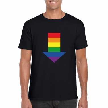 Gay pride shirt bottom met regenboog pijl zwart heren