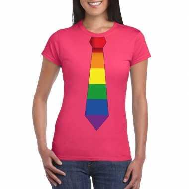 Gay pride shirt met regenboog stropdas roze dames