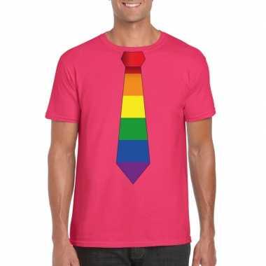 Gay pride shirt met regenboog stropdas roze heren