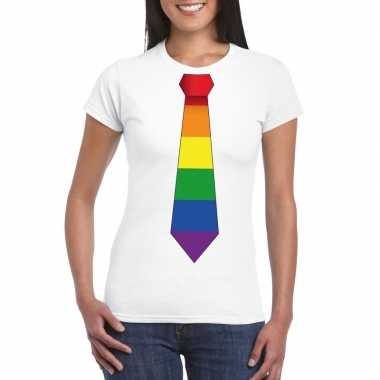 Gay pride shirt met regenboog stropdas wit dames
