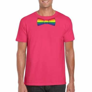 Gay pride shirt met regenboog vlinderstrikje roze heren