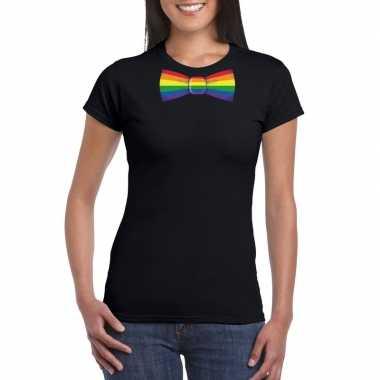 Gay pride shirt met regenboog vlinderstrikje zwart dames