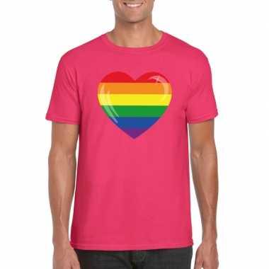 Gay pride t-shirt regenboog vlag in hart roze heren