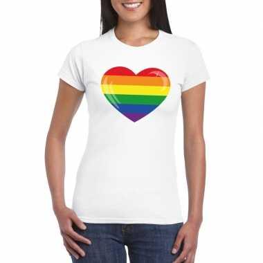 Gay pride t-shirt regenboog vlag in hart wit dames