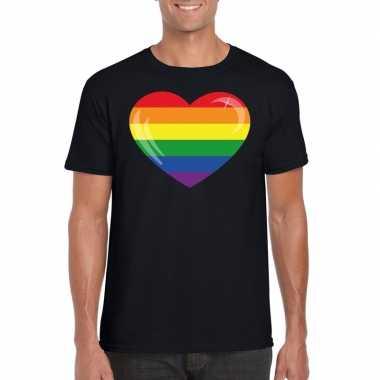 Gay pride t-shirt regenboog vlag in hart zwart heren