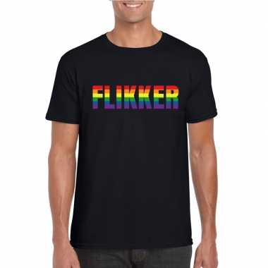 Gay shirt flikker in regenboog letters zwart heren