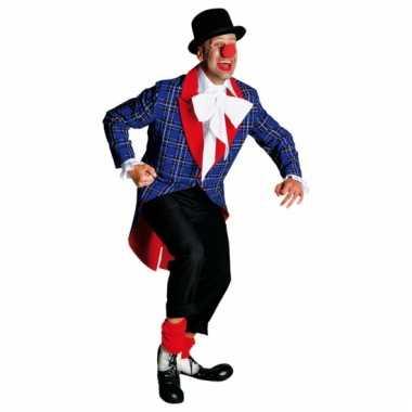 Geblokte clowns jas met rood accent