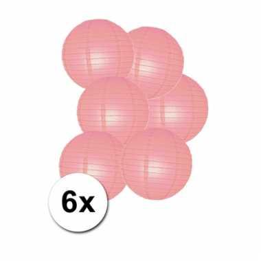 Geboorte versiering lampionnen roze 6x