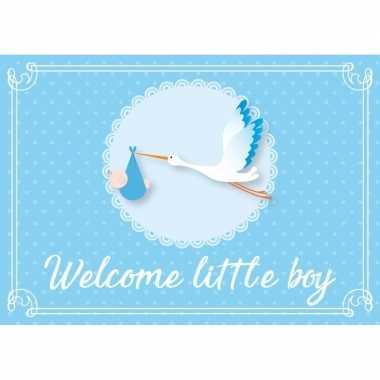 Geboortekaart/wenskaart jongen geboren blauw kraamkado