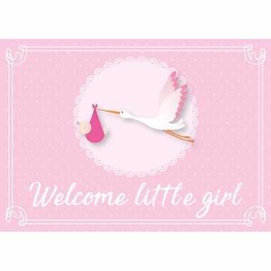 Geboortekaart/wenskaart meisje geboren roze kraamkado