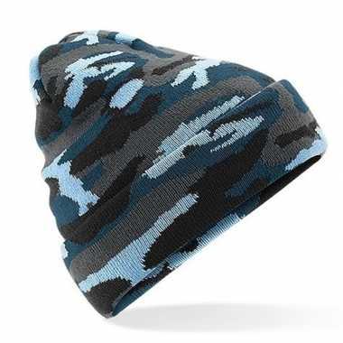 Gebreide camouflage wintermuts blauw met voering voor dames/heren