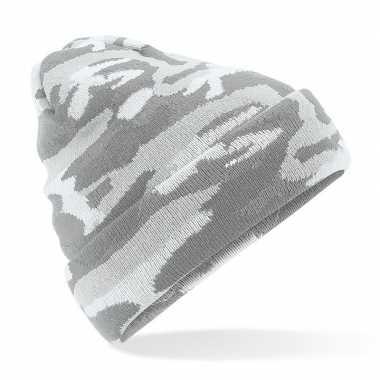 Gebreide camouflage wintermuts grijs met voering voor dames/heren