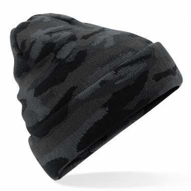 Gebreide camouflage wintermuts zwart met voering voor dames/heren
