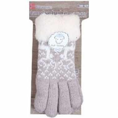 Gebreide handschoenen beige met rendier en nep bont voor dames