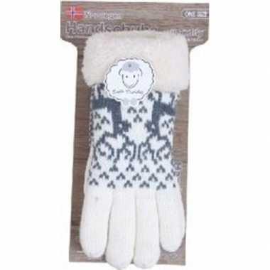 Gebreide handschoenen creme wit met rendier en nep bont voor dames