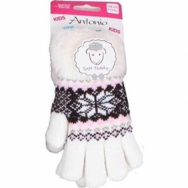 Gebreide handschoenen creme wit met sneeuwster en nep bont voor meisj
