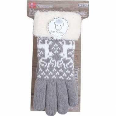 Gebreide handschoenen grijs met rendier en nep bont voor dames