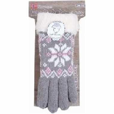 Gebreide handschoenen grijs met sneeuwster en nep bont voor dames