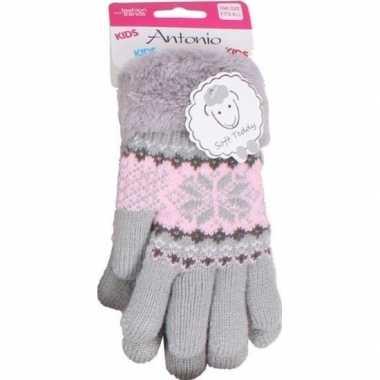Gebreide handschoenen grijs met sneeuwster en nep bont voor meisjes/k