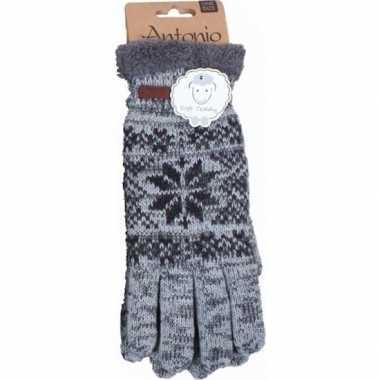 Gebreide handschoenen grijs met sneeuwster voor heren