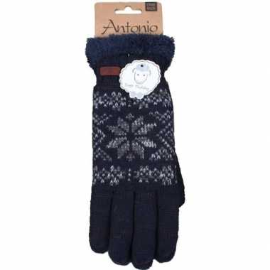 Gebreide handschoenen navy blauw met sneeuwster voor heren