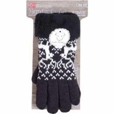 Gebreide handschoenen zwart met rendier en nep bont voor dames