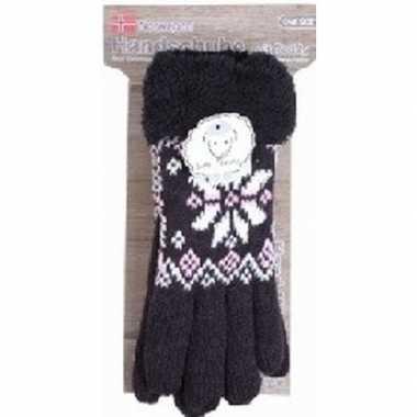 Gebreide handschoenen zwart met sneeuwster en nep bont voor dames
