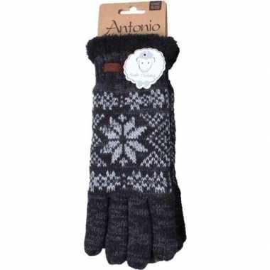 Gebreide handschoenen zwart met sneeuwster voor heren