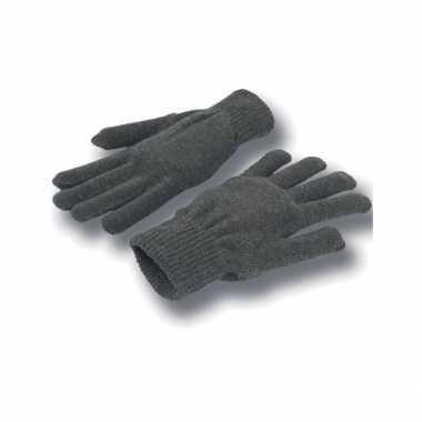 Gebreide winter handschoenen grijs voor volwassenen